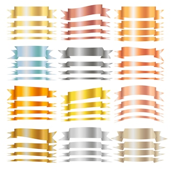 Rubans blancs isolés horizontaux en or, argent, bronze et autres