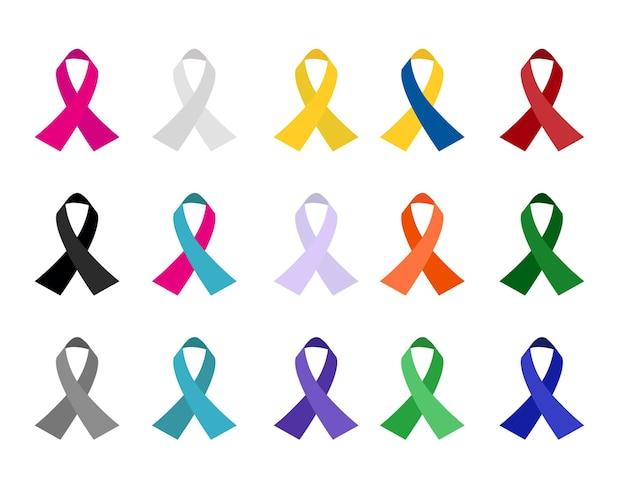 Rubans de cancer de conscience colorée isolés sur fond blanc. illustration vectorielle