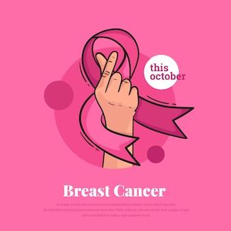 Rubans de cancer du sein avec le symbole de la main de l'amour coréen
