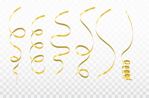 Rubans de carnaval de célébration de confettis d'or.