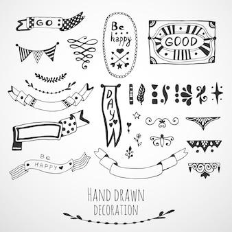Rubans, collection de cadres et de frontières. éléments de design dessinés à la main mignons. jeu de doodle vectoriel.