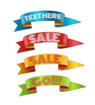 Rubans de couleur avec la collection de vecteurs de texte. modèle pour un texte. collection de bannières isolée sur blanc