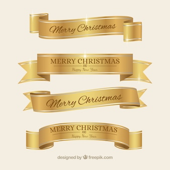 Rubans de Noël élégants d'or