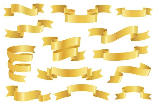 Rubans dorés, éléments de bannière réalistes en ruban doré brillant. ruban ou défilement promo premium vide, décoration vintage élégante ensemble de vecteur. éléments vierges promotionnels festifs isolés sur blanc