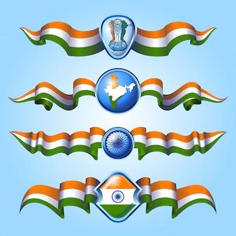 Rubans du drapeau indien