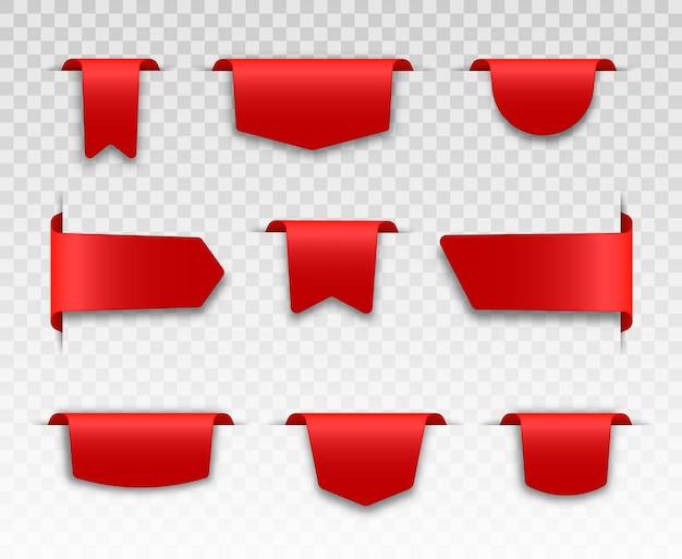 Rubans d'étiquette de prix vierge rouge et ensemble de bannières de vente