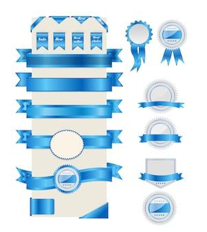 Rubans et étiquettes bleues. illustration.