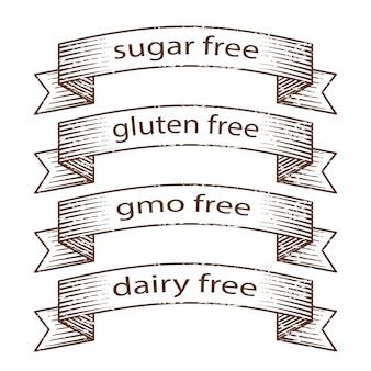 Rubans grunge dessinés à la main - sans gluten, sans sucre, sans produits laitiers