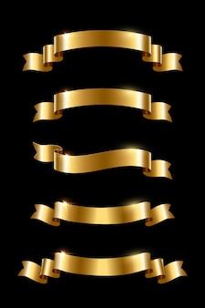 Rubans de luxe doré sur fond noir