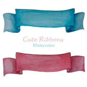 Rubans mignons rose et bleu à l'aquarelle