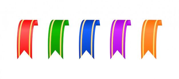 Rubans multicolores avec inserts dorés. rubans courts.