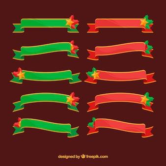 Rubans de noël vert et rouge