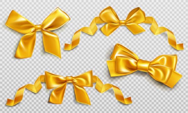 Rubans et noeuds en or pour emballer le coffret actuel