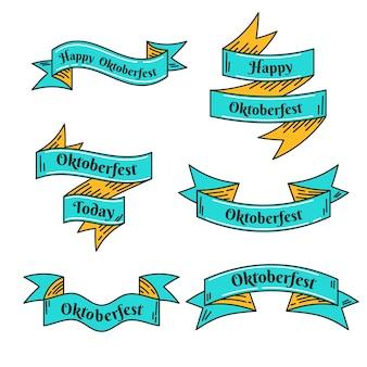 Rubans oktoberfest dessinés à la main jaune et bleu