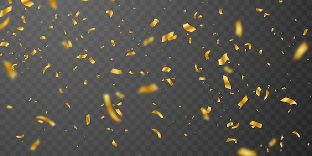 Rubans d'or confettis. carte riche de voeux de luxe de célébration.