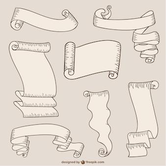 Rubans de papier et des rouleaux