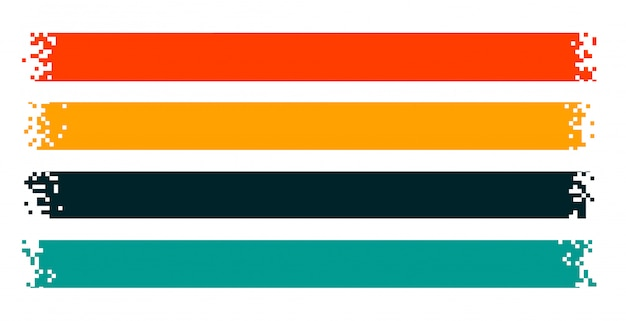 Rubans de pixels ou larges bannières pixélisées ensemble de quatre