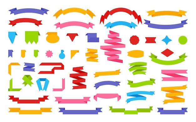 Rubans plat ensemble bannière de papier de dessin animé décoratif. drapeau rétro, étiquette de prix de ruban de texte vierge, étiquette de vente