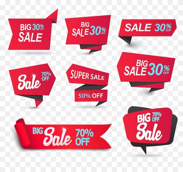 Rubans de produits de magasin de vente en papier réaliste