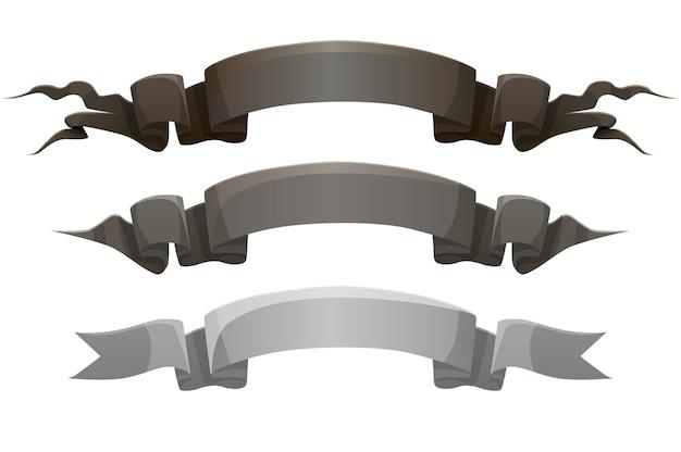 Rubans de récompenses gris noir, étiquettes de modèles sombres pour le jeu.