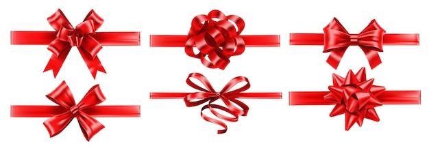 Rubans rouges réalistes avec des arcs. arc d'emballage de fête, décoration de cadeaux et ensemble de rubans.
