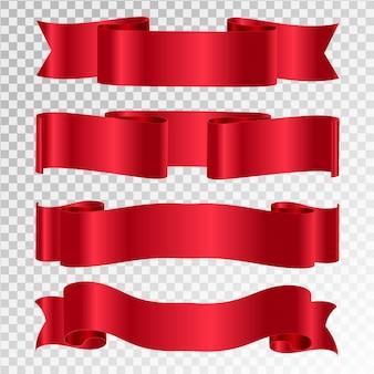 Rubans rouges de vecteur. ensemble de bannière de ruban.