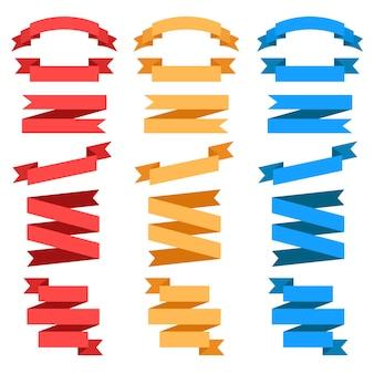 Rubans de vecteur plat isolés. ensemble de ruban rouge, jaune et bleu