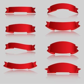 Rubans de vecteur réaliste rouge brillant