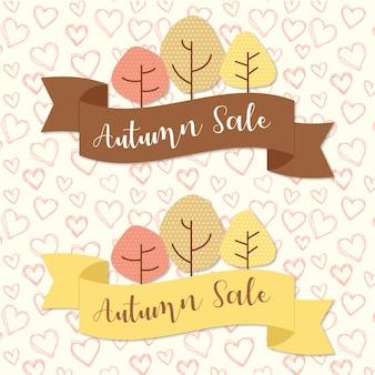 Rubans de vente d'automne avec des arbres