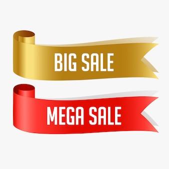 Rubans de vente rouges et dorés