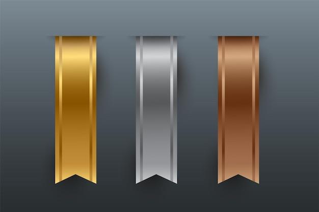 Rubans verticaux en bronze argenté doré isolés sur fond gris