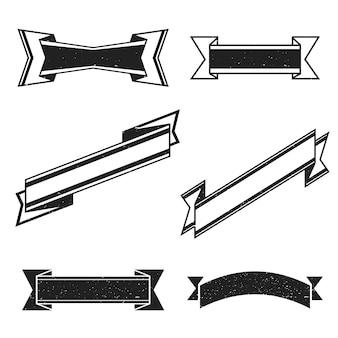 Rubans vierges de décoration rétro monochrome noir vintage avec des modèles de texture grange sur fond blanc