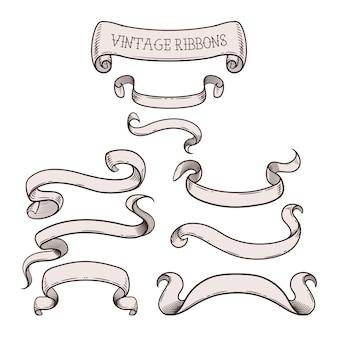 Rubans vintage pour votre message, ensemble de beaux éléments de design décoratif. illustration
