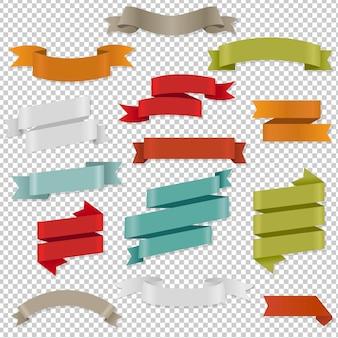 Rubans web colorés mis illustration isolée