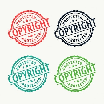 Rubber stamp badge copyright mis en différentes couleurs