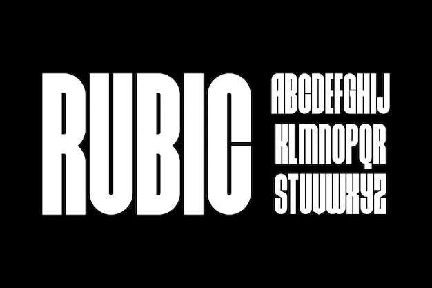 Rubic, forme géométrique font vector typeface alphabet typeset