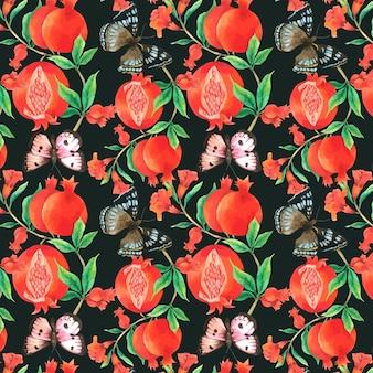 Rubis et papillons seamless pattern à l'aquarelle