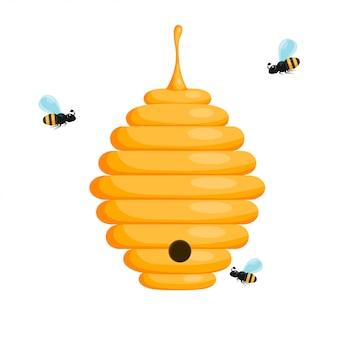 Ruche d'abeille jaune sur fond blanc