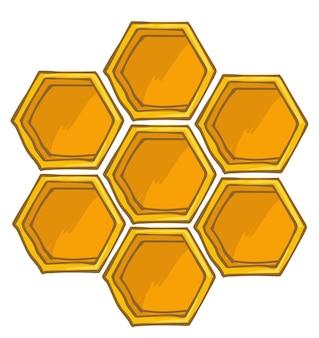 Rucher et agriculture biologique production de miel doux, hexagone isolé masoïque de cellules de ruche pour que les abeilles stockent le pollen. produit frais, alimentation saine de savoureux nectar liquide. vecteur dans un style plat