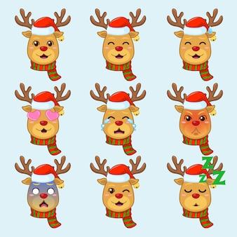 Rudolph the deer dans différentes émotions