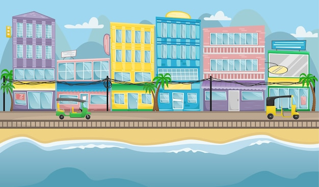 Rue asiatique avec des bâtiments colorés, des fils électriques et des tuk tuks sur les routes.