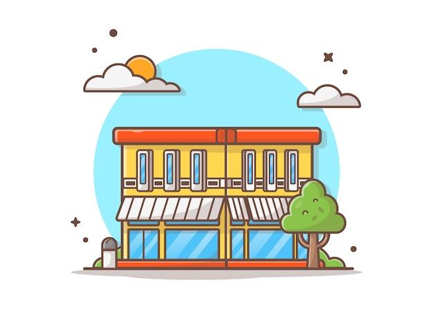 Rue café bâtiment vector illustration icône