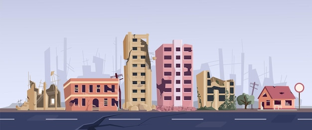 Rue du ghetto avec maison abandonnée en ruine et vieux bâtiment. des habitations délabrées se dressent au bord de la route, détruit les ruines de la ville brisée après une explosion, une catastrophe naturelle ou une illustration vectorielle de tremblement de terre