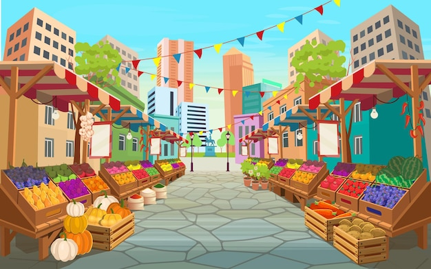 Rue du marché des aliments biologiques. les étals du marché alimentaire avec des fruits et légumes. caricature de vecteur