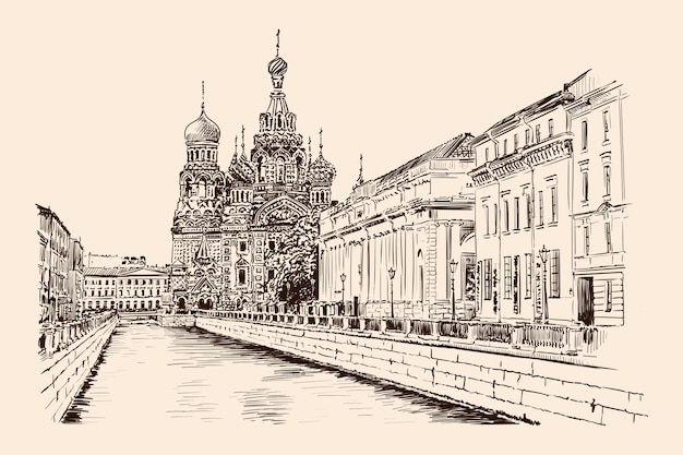 Rue embankment de saint-pétersbourg avec vue sur le temple et les bâtiments de style classique. croquis à la main sur fond beige.