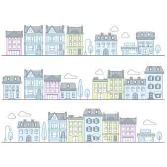 Rue européenne avec bâtiments et maisons - ville