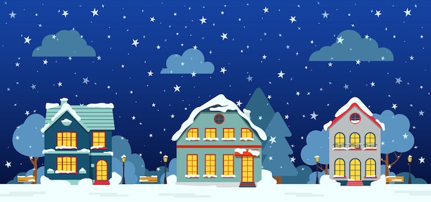 Rue d'hiver avec chalet, arbres de neige, nuages de brousse, carte de dessin animé plat. joyeux noël et bonne année bannière horizontale panoramique. paysage urbain
