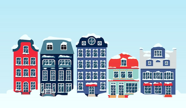 Rue d'hiver enneigé avec maisons ciel dessin animé plat. panoramique horizontal avec bâtiments. paysage urbain