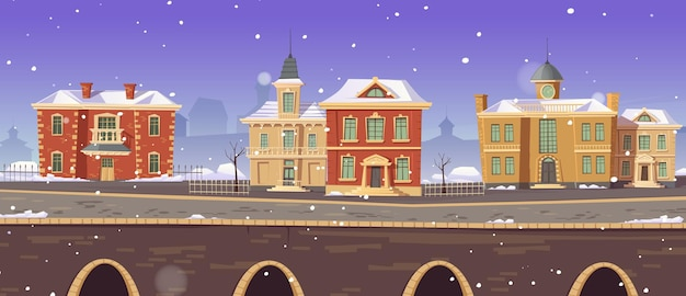 Rue d'hiver de la ville vintage avec bâtiments victoriens coloniaux européens et promenade du lac