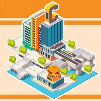 Rue isométrique avec des bâtiments. ville.